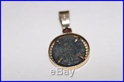 Estate Roman Antoninus Pius Ancient Coin Pendant with 14k gold frame