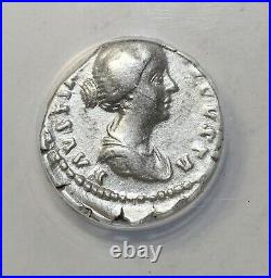 Faustina Junior Silver Denarius 157-161 AD ANACS Graded VF35 Ancient Roman Coin