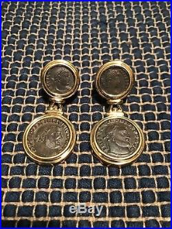Fine Estate Italy 18k Gold Ancient Roman Coin Earrings