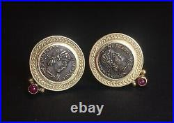 Fine Pair Vintage Earrings Ancient Roman Coins 14k Yellow Gold Rubies