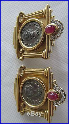 FineEstate18kSolid Gold/Ruby/ Dimonds Ancient Roman Coin Earrings by Nino Veruti
