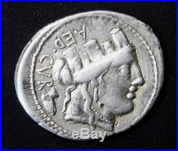 Furius Crassipes 84 BC. Superb Denarius. Roman Republic. Ancient Silver Coin