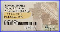 GALBA Rare Ancient 68AD Rome SESTERTIUS Authentic Roman Coin SPQR Wreath i66907