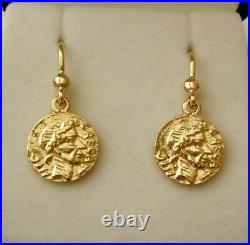 GENUINE SOLID 9ct YELLOW GOLD SMALL ANCIENT ROMAN REPUBLIC COIN DANGLE EARRINGS