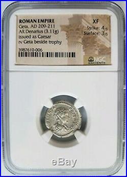 GETA Roman Empire 209-211 SILVER NGC XF Ancient Denarius Caesar Trophy Coin