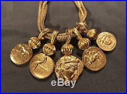 GOLDTONE STATEMENT NECKLACE Franklin Mint FM Ancient Rome COINS Antiquity ROMAN