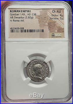 GORDIAN I AFRICANUS 238AD VERY RARE Ancient Silver Roman Denarius Coin NGC Ch AU