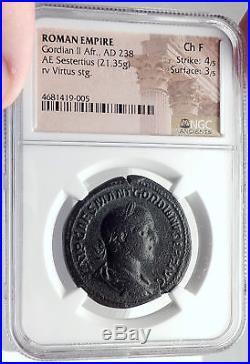 GORDIAN II Africanus Rare 238AD Rome Sestertius Ancient Roman Coin NGC i70000