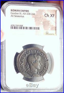 GORDIAN III 238AD Rome Sestertius Authentic Ancient Roman Coin VIRTVS NGC i68717