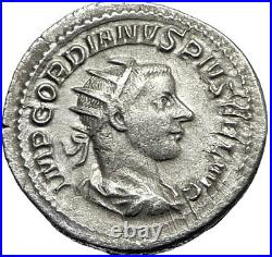 GORDIAN III 239AD Authentic Genuine Ancient Silver Roman Coin Fortuna i67346