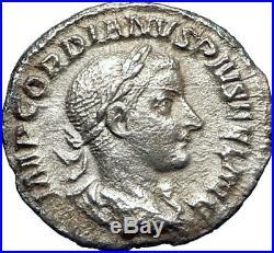GORDIAN III 240AD Scarce Denarius Ancient Silver Roman Coin PIETAS i73268