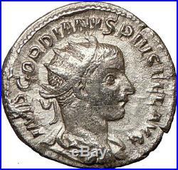 GORDIAN III 241AD Rare Silver Ancient Roman Coin Nude Zeus Thunderbolt i19051