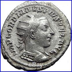 GORDIAN III 242AD Rome Authentic Original Ancient Silver Roman Coin i63325