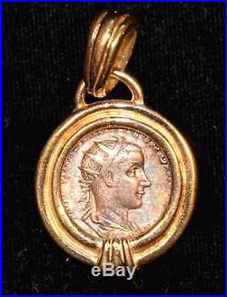 Genuine Ancient Roman Silver Coin 238-244 A. D, 18K Yellow Gold Necklace Pendant
