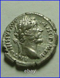 Genuine Ancient Roman silver coin denarius Antoninus Pius Anonna, Modius, Rudder