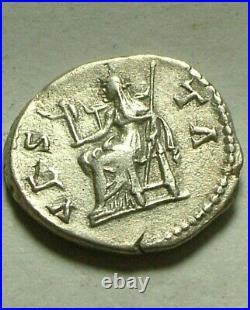 Genuine ancient Roman silver coin denarius Sabina wife of Hadrian 137AD VESTA