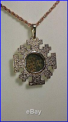 Greek Roman Revival ancient coin 14k yellow gold necklace pendant 1 sq. 6.6g