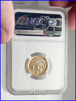 HONORIUS Authentic Ancient 408AD Genuine Original GOLD Roman Coin NGC MS i73332