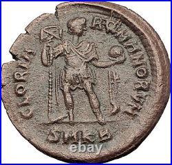 HONORIUS w Globe & Labarum 393AD Cyzicus Authentic Ancient Roman Coin i63580