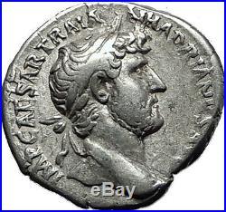 Hadrian 119AD Silver Rare Ancient Roman Coin Salus Asclepius daughter i58524
