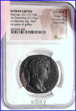 Hadrian 125AD Rome Sestertius Neptune Authentic Ancient Roman Coin NGC Certified