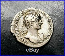Hadrian. Superb Denarius. Father of Antonius Pius. Ancient Roman Silver Coin