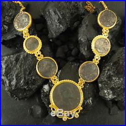Handmade Ancient Genuine 7 Roman Coin Necklace 22K Gold Over Sterling Silver