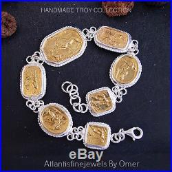 Handmade Ancient Roman Art Coin Bracelet By Omer 925k Sterling Silver