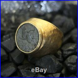 Handmade Hammered Ancient Real Roman Coin Men Ring Gold over Sterling Silver No4