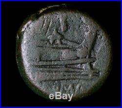 Head of Janus 187 BC Prew of Ship 48.2g Ancient Roman Coin #AC022