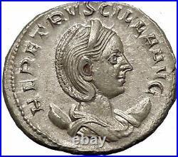 Herennia Etruscilla Hostilian mom Silver Ancient Roman Coin Modesty Cult i52034