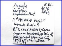Higher Quality Ancient Roman Silver Denarius Coin Augustus. 3.8 Grams