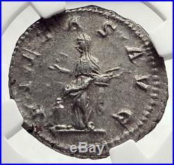 JULIA MAESA Authentic Ancient 218AD Rome Silver Roman Coin PIETAS NGC i73325