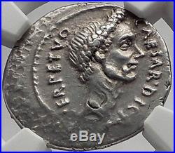 JULIUS CAESAR 44BC Rome Denarius Authentic Ancient Silver Roman Coin NGC Ch XF