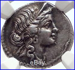 JULIUS CAESAR 48BC Authentic Ancient Silver Roman Coin VENUS TROY Rome HERO NGC