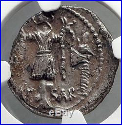 JULIUS CAESAR 48BC NGC Certified Ch XF QUALITY Ancient Silver Roman Coin i63894