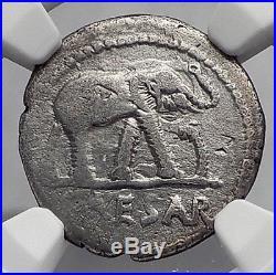 JULIUS CAESAR 49BC Elephant Serpent Ancient SILVER Roman Coin NGC Ch F i59946