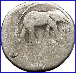 JULIUS CAESAR Elephant Serpent 49BC Authentic Ancient Silver Roman Coin i52552