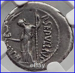 JULIUS CAESAR Lifetime 44BC Rome Ancient Silver Roman Coin NGC Certified XF Rare