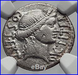 JULIUS CAESAR NGC Certified VF Ancient Silver Roman Coin THAPSUS Battle i60151