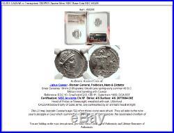 JULIUS CAESAR vs Vercingetorix TROPHY Ancient Silver 48BC Roman Coin NGC i68286