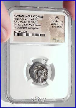 JULIUS CAESR Portrait APRIL 44BC Authentic Ancient Silver Roman Coin NGC i72395