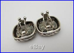 Judith Ripka Sterling Silver Ancient Roman Coin Diamonique Omega Back Earrings