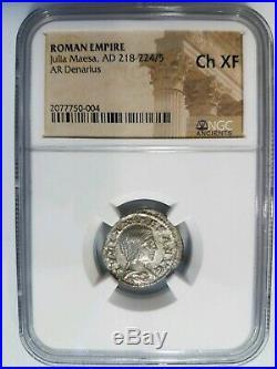 Julia Maesa Roman Empire NGC Ch XF AD 218-225 AR Denarius Silver Ancient Coin