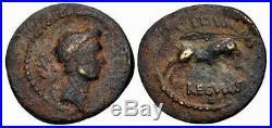 Julius Caesar 42 BC. Rare Fourrée Denarius Core. Ancient Roman Coin