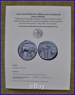 Julius Caesar Authentic Ancient Roman Elephant Silver Denarius Coin with COA