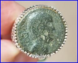 Julius Caesar Portrait Authentic Ancient Roman Coin 925 Sterling Silver Ring