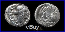 Julius Caesar Utica Mint Ancient Roman Silver Denarius Coin 025642