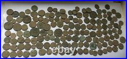LARGE LOT OF 150 UNCLEANED ANCIENT ROMAN IMPERIAL BRONZE COINS II-V Century AD