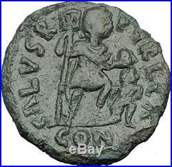 LEO I 457AD Constantinople RARE AE2 Ancient Roman Coin Chi-Rho Labarum i65271